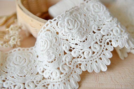 off white cotton lace trim crochet cotton lace retro by QFabrics