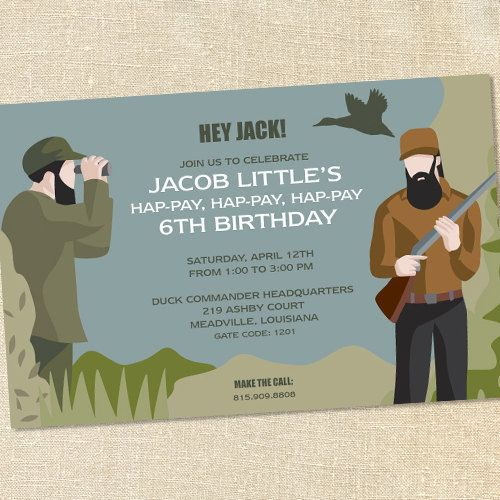 Duck Hunting Dynasty Invitations for Children and Boy's Birthday Parties by Sweet Wishes Stationery