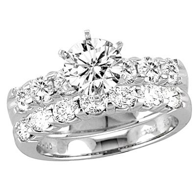 1 CT. T.W. Diamond Bridal Set in 14K White Gold