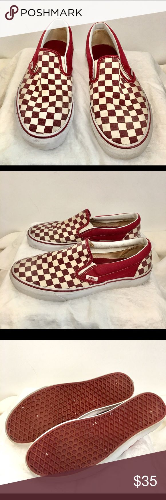 VANS Classic Slip-On Checkerboard, Original & Rare VANS Classic Slip-On  Checkerboard / Original & Rare / Retro / Red & White. Vans Shoes Athletic Shoes