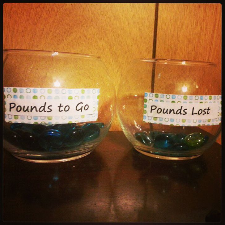 Weight-Loss Jars .... maybe if I can see it, touch it, I'll stick to it!