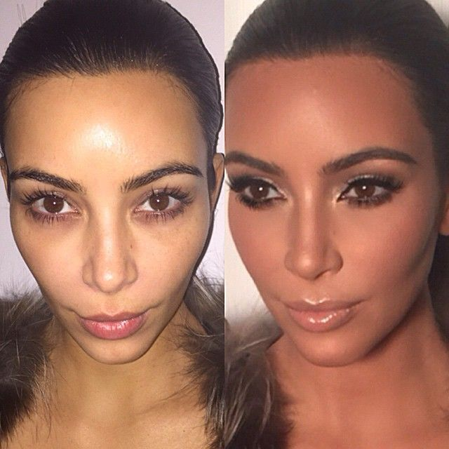 #before and #after of my #Muse @kimkardashian from today's #Master Class. I taught the class our signature look  what a treat this was. #epic #grateful.  She took a red eye flight last minute to be there for me after my model cancelled last minute.  And she gave all the artists amazing advice  about all the things that are important when it comes to client/ artist relationships.  I'm still in shock. Thank you thank you thank you. (Ps each photo was taken with different lighting and cameras)