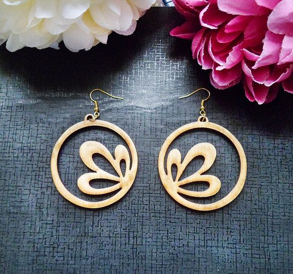 Stunning Handmade 'Corner Flower' Circle Cut Out Design Birch Wood Laser Cut Earrings
