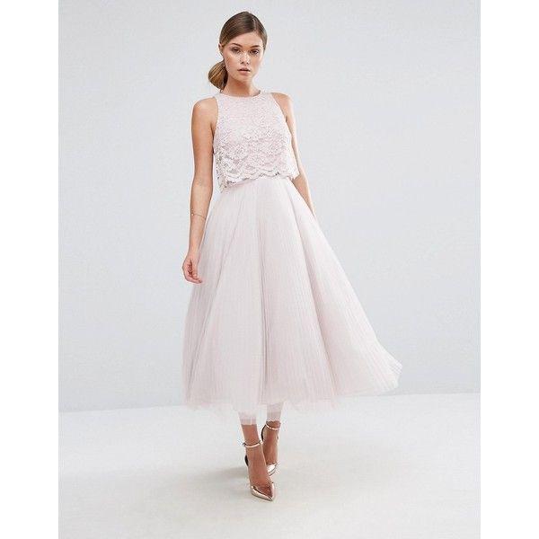 Coast Astoria Lace Midi Dress (1.145 BRL) ❤ liked on Polyvore featuring dresses, pink, zipper dress, high neckline lace dress, coast dresses, tall dresses and zip dress