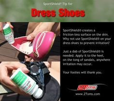 How to prevent your shoes and sandals from rubbing your feet. 2Toms SportShield prevents skin chafing. #dressshoes #sandals www.2toms.com/