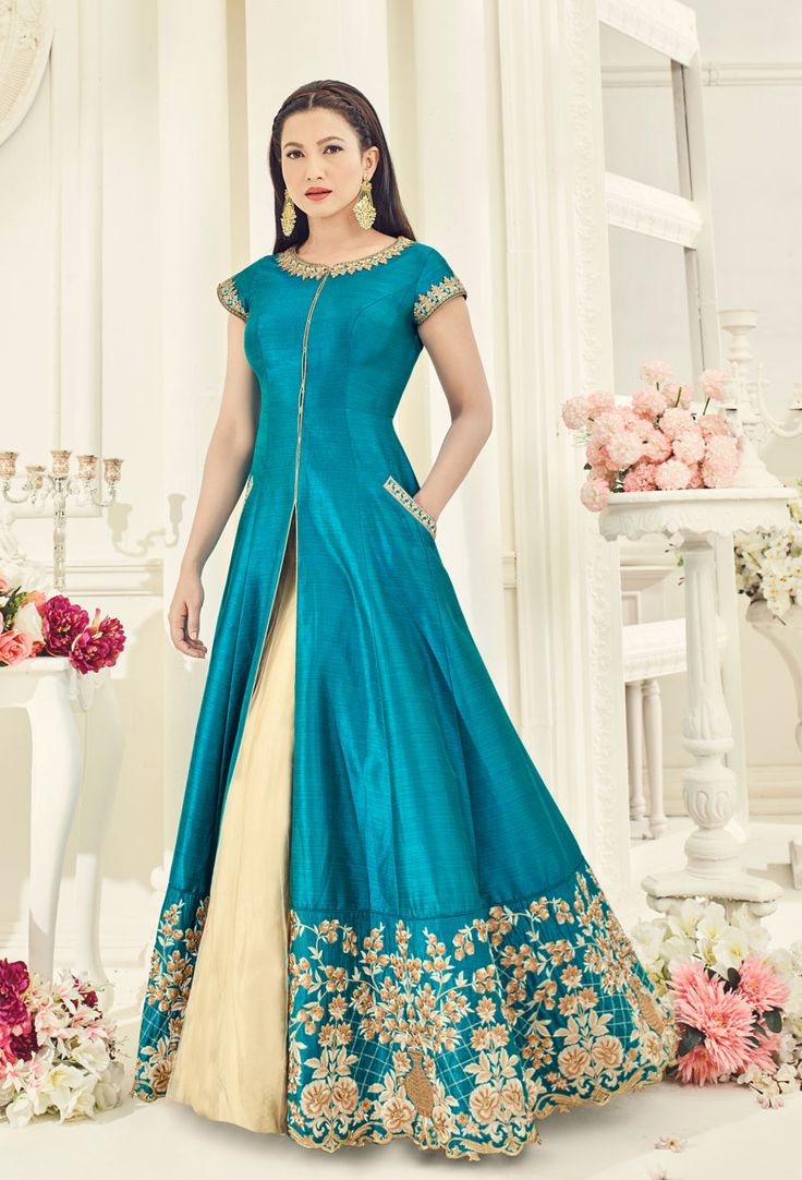 #Gauhar Khan In Sky #Blue #Achkan Style #Salwar #Kameez #nikvik  #usa #designer #australia #canada #freeshipping #fashion #dress #suits #sale