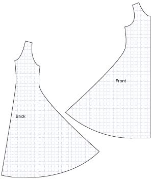 Diagram of Sewing Pattern Pieces for the Jersey Flare Dress. Download online PDF Sewing Pattern 781