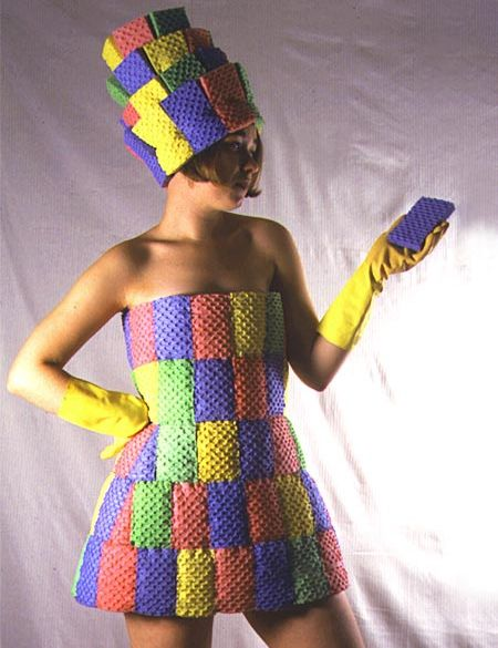 Sponge Dress.  Weird dress created from regular kitchen sponges by Kate Cusack.