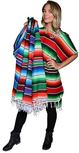 El Paso Designs Mexican Poncho with Beautiful Saltillo Serape Colors. Authentic Unisex Poncho Imported from Mexico is ideal for Mariachi Costumes or Cinco de Mayo Party.