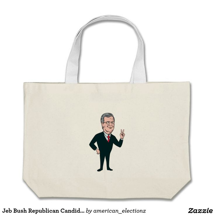 """Jeb Bush Republican Candidate 2016 Cartoon Large Tote Bag. Illustration showing John Ellis """"Jeb"""" Bush, an American businessman and politician and Republican 2016 presidential candidate standing flashing victory hand sign on isolated background done in cartoon style. #Jeb2016 republican #americanelections #elections #vote2016 #election2016"""