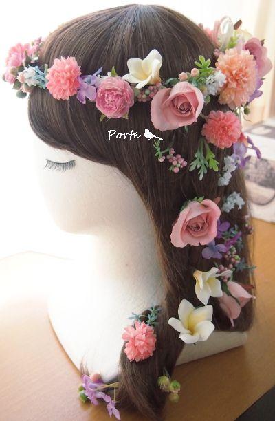マカロンカラーの花冠&花飾り ウェディングブーケ・花冠・通販専門店「ぽると」