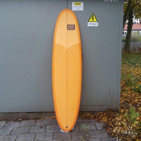 Agent Orange by Hillbilly Surfboards 7'5 singlefin wavecatcher extraordinaire.. glassed in volan with a silky matte finish.