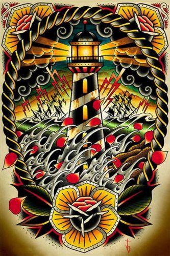 Last Port by Tyler Bredeweg Tattoo Art Print Traditional Artwork Lighthouse Wave   eBay