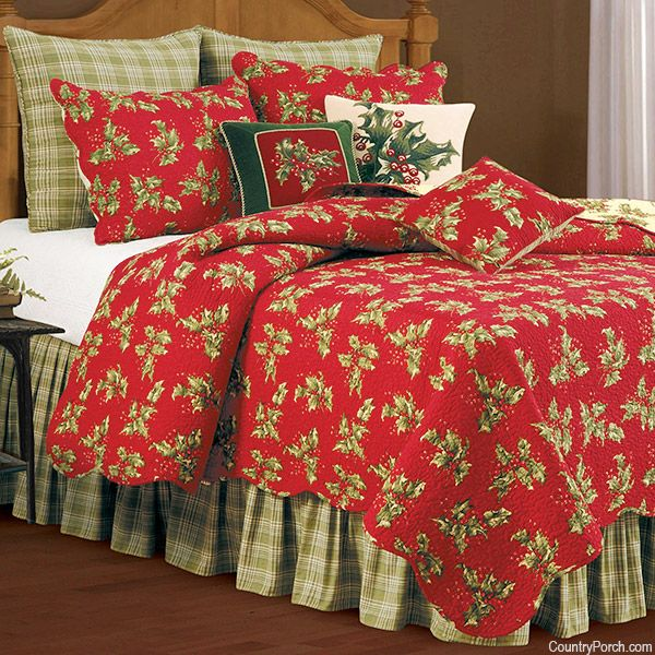 For Purchase - Holly Red Quilt available at The Country Porch - Full/Queen Quilt $149.95 (US) - prices for all items at website