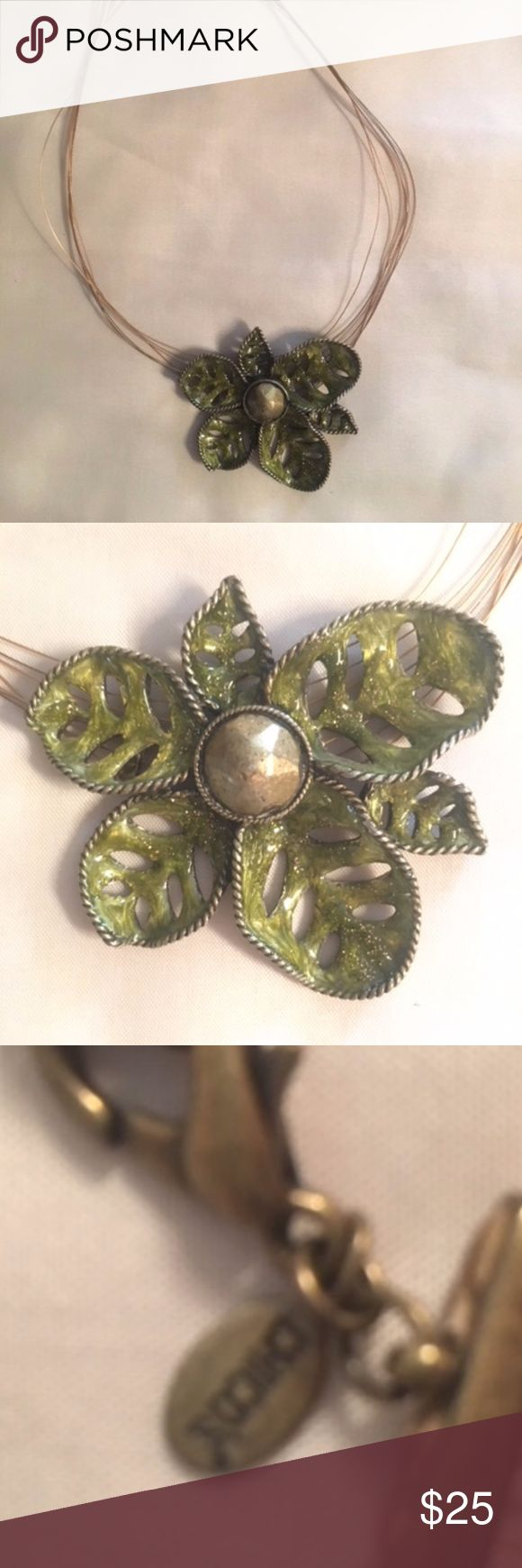 "Chico's Enamel Flower Necklace Fine wire strands with a claw clasp (Chico's tag) hold this lovely green enameled flower. Flower is statement sized - approx 2.5"" in length. Chico's Jewelry Necklaces"