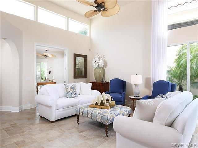 White Living Room With Cobalt Blue Gray And Green Accents