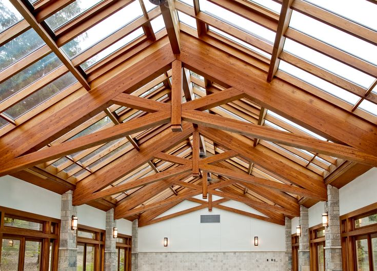 17 best ideas about exposed trusses on pinterest wood for Vaulted ceiling with exposed trusses