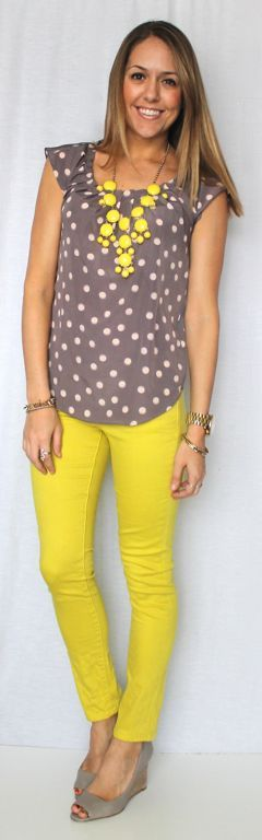 grey and yellow with a bubble necklace. Love !!This would be a great weight loss motivator...
