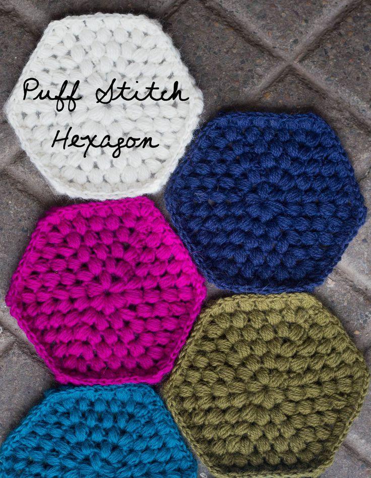 Weekend Makes: Puff Stitch Hexy — Slugs On The Refrigerator Trivet/blanket