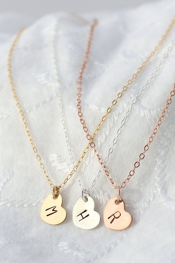 Initial Heart Necklace in Gold, Silver, and Rose Gold. Perfect for a personalized Christmas gift.