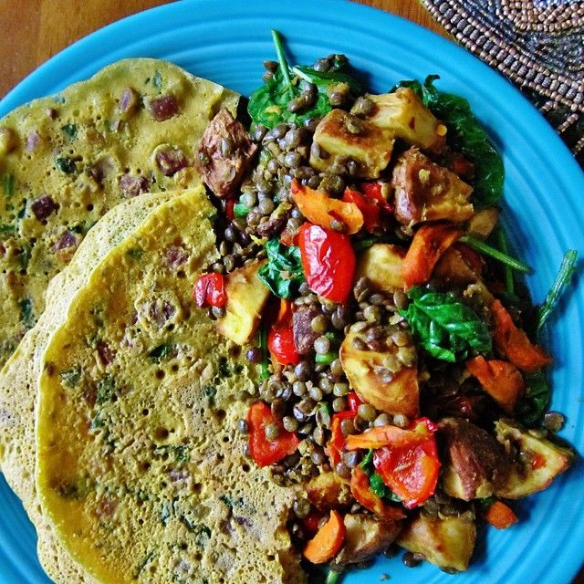 Health | vegan gluten free Spiced Lentil Potato Hash with vegan Chickpea Flour Pancakes • new cook book Vegan Richa's Indian Kitchen vegan dinner recipe
