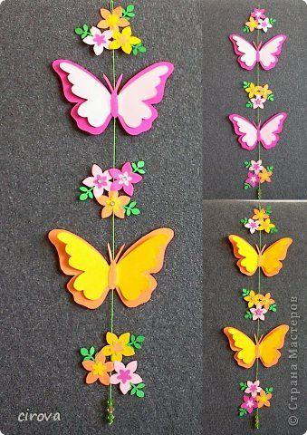 Мастер-класс Поделка изделие Аппликация Вырезание Мобиль - бабочки Бумага Клей фото 1
