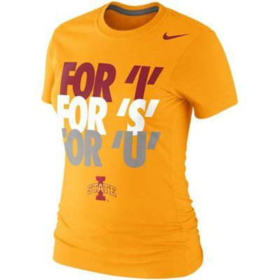 Nike Iowa State Cyclones Ladies For 'I' For 'S' For 'U' 2013 Local T-Shirt - Gold