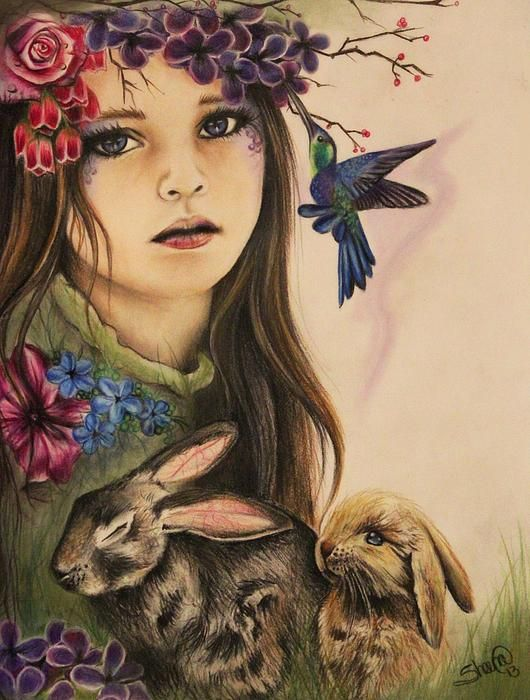 By: Sheena Pike ~ ART ~ Spring Art, Girl Art, Flowers, Child, Nursery Art, Bunnies , Seasons Art, Nature Art, Portrait - This piece can be purchased on my website...please visit! sheena-pike.artis... and thank you for the Pin...I appreciate the exposure. (copyright of SheenaPikeArt )