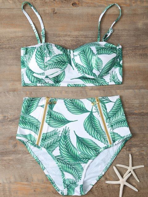94f95a7a708a9 ... Sexy Beach Bathing Suits, Black Swimsuits Cheap Online Sale. [41% OFF]  2019 High Waisted Leaf Print Bikini Set In JADE GREEN M | DressLily.com