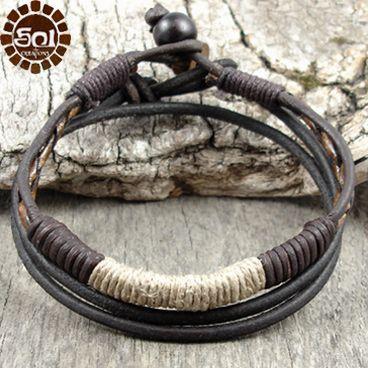 Men's leather and hemp bracelet