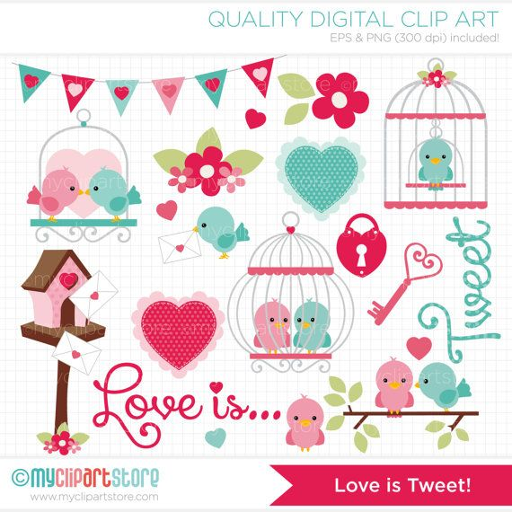 Valentines Day / Love Birds Clipart / Clip Art / by MyClipArtStore, $4.00