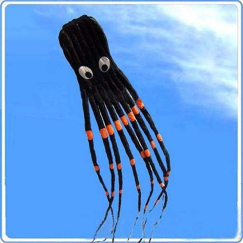 7M Large Octopus Paul Parafoil Kite Black with Handle  String Beach Park Outdoor Fun * To view further for this item, visit the image link.