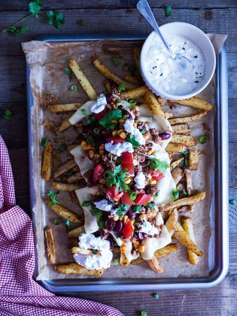 selbstgemachte Backofen Chili Cheese Fries | Meine Küchenschlacht