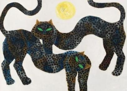 "Indonesian Painter Popo Iskandar - my fave with his panthers ""duo macan"" <3 <3"