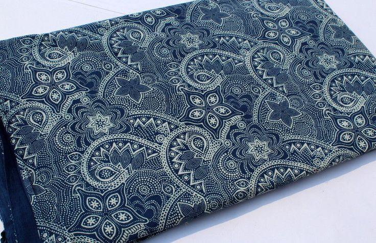 1Yard Indian Indigo Blue Fabric Cotton Hand Block Print Fabric bagru Dabu Fabric #Handmade