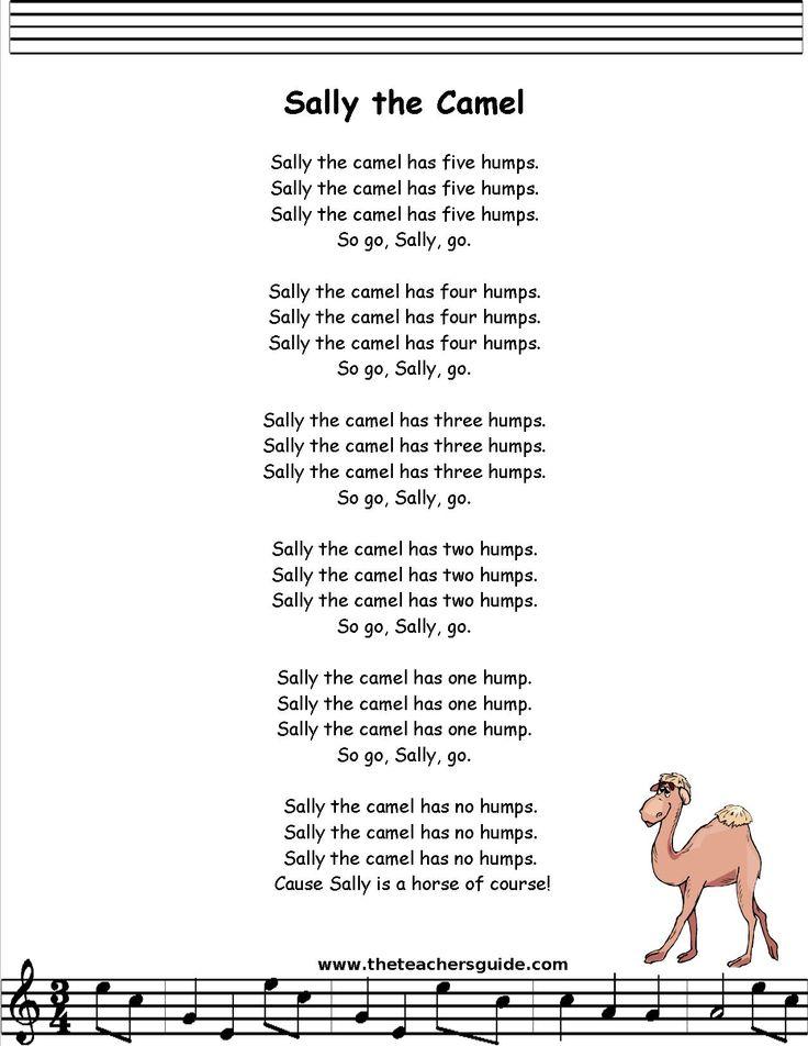Sally The Camel Lyrics Printout Children S Songs