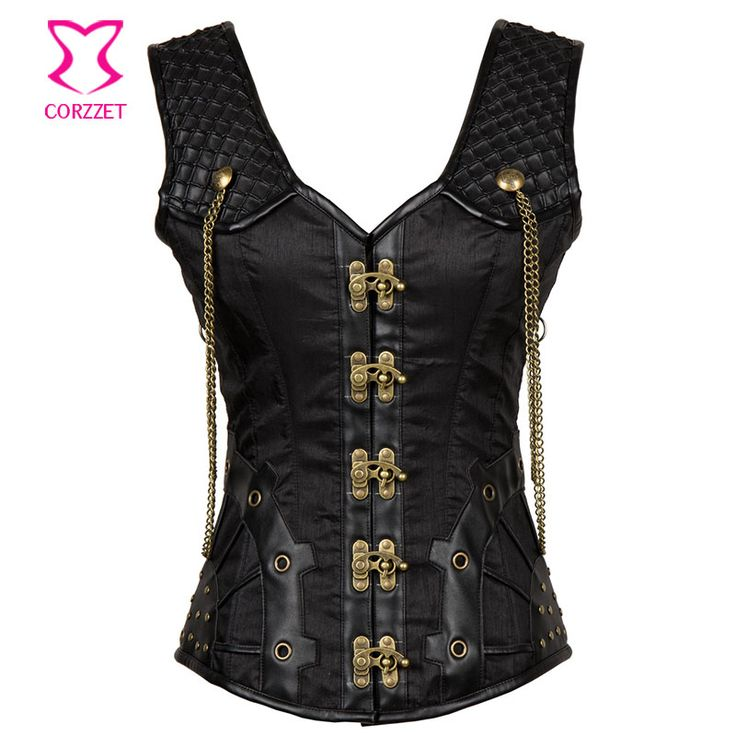 Cheap black steampunk corset, Buy Quality steel boned corset directly from China steampunk corset Suppliers: Black Steampunk Corset Gothic Clothing Steel Boned Corsets Plus Size Women Corpetes E Espartilhos Sexy Korset Waist Trainer Vest