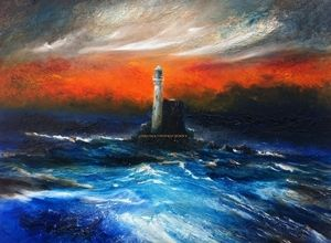 'The Fastnet Lighthouse', Ireland Oil on canvas Size: 24 x 20 inches  Unframed Euro 900  SOLD