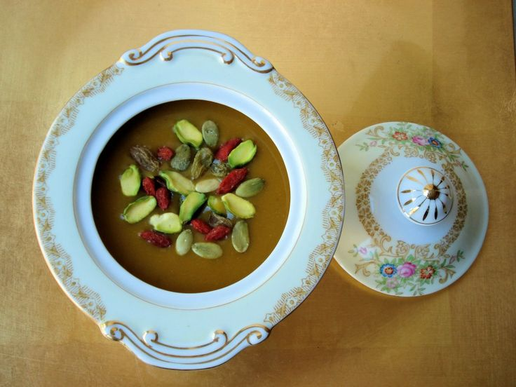 Yummy Pumpkin Chia Tea Soup.  This comforting soup is made with Pumpkin, chai tea and coconut milk. The recipe is vegan, gluten-free, and dairy-free.