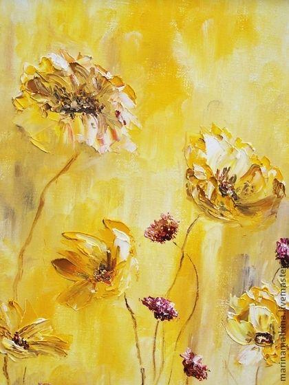 """Картина маслом """"Желтые цветы"""". Handmade."""
