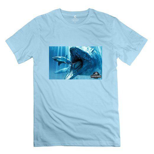Men's Underwater Dinosaurs Jurassic World 2015 Movie O-neck Tee Shirt  XX-Large SkyBlue