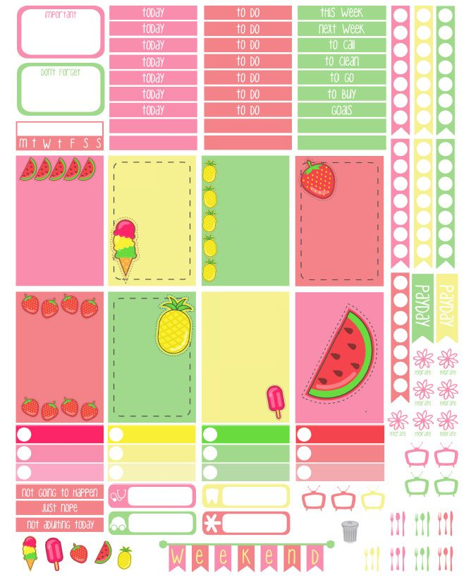 Say Plans Again: It's Fri-Yay! Free Printable - Summer Sweets Weekly Layout