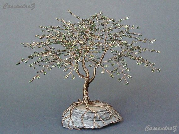 ~Traditional Beaded Bonsai~  Height: 7.5 Width: 8.5 Lead time: 2-6 weeks (all approximate)  This listing is for a custom/ made to order tree. The exact tree in the picture is sold. Another similar, yet still original, tree will be made for you if you purchase this. Please allow 2-6 weeks for me to make your tree or contact me first to see if theres a possibility for a rush order.  Hand beaded wire tree branches are twisted together to create a beautiful, traditional looking bonsai tree s...