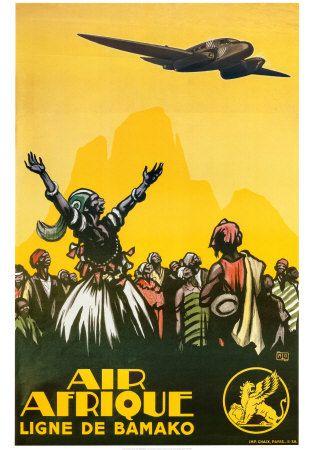 Air Afrique - Ligne de Bamako. #Vintage #Print