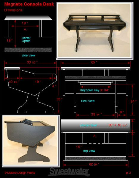 Studio Workstation Desk For Avid Artist Control And Artist Mix Control  Surfaces, 15RU, And