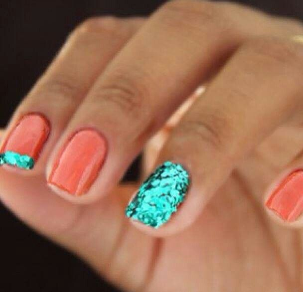 Coral and mint nails, manicure