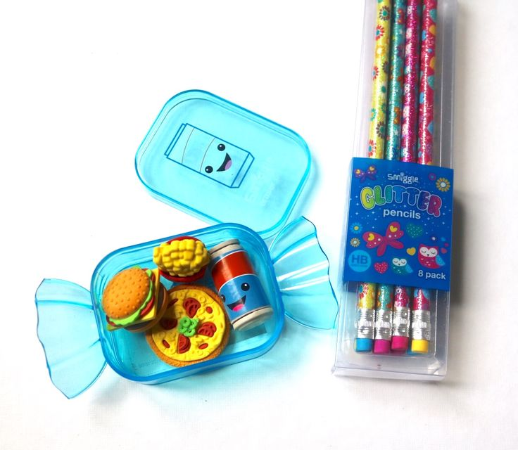 Smiggle eraser party tub Collection and glitter pencils