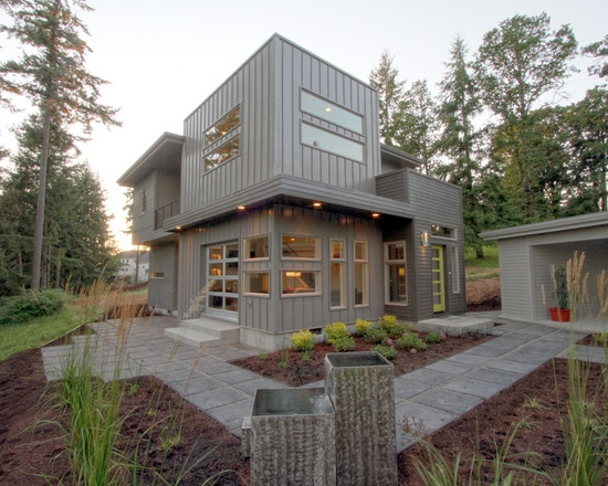 Exterior Of A Mid Century Modern + Urban Cosmopolitan Style Custom Home    Modern   Exterior   Portland   Jordan Iverson Signature Homes