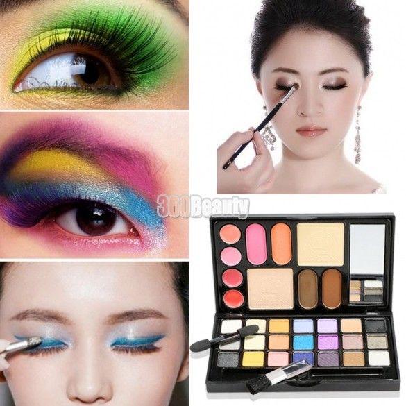 2015 o bálsamo sombras de maquiagem portátil colorido lenços brilho sombra de olho sobrancelha Lip Gloss Blush cosméticos olhos maquiagem Kit Palette alishoppbrasil