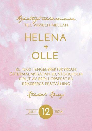 """""""RIBBON IN THE SKY"""" BRÖLLOPSINBJUDAN ROSA via lovelydaydesign.com"""